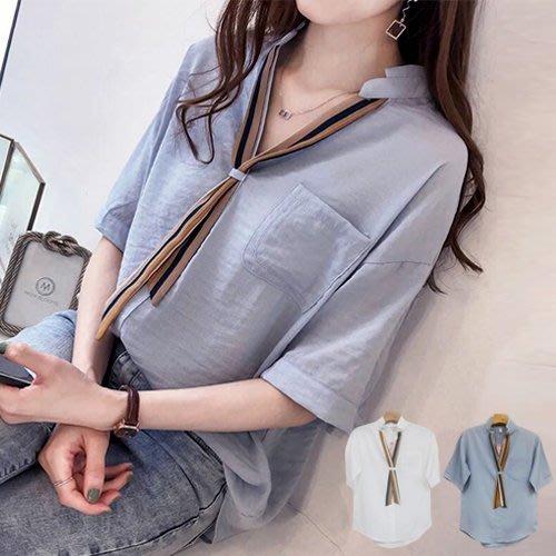 衣貝拉 【28536】 韩版V領條紋領巾带短袖上衣 襯衫