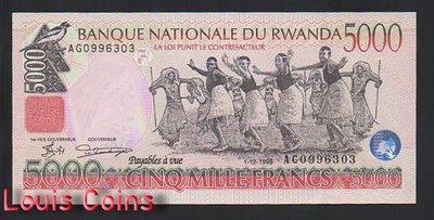【Louis Coins】B1228-RWANDA-1998盧安達紙幣,5.000 Francs