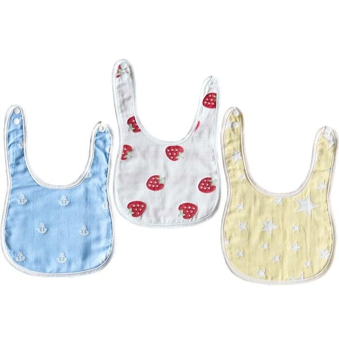 純棉布嬰兒口水巾兒童圍兜寶寶飯兜不防水