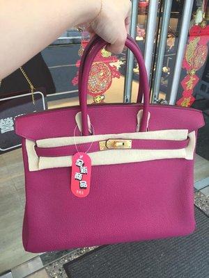 典精品名店 Hermes 全新品 真品 K5 Tosca 桃紫色 35cm Birkin 柏金 包 金扣  超美 現貨