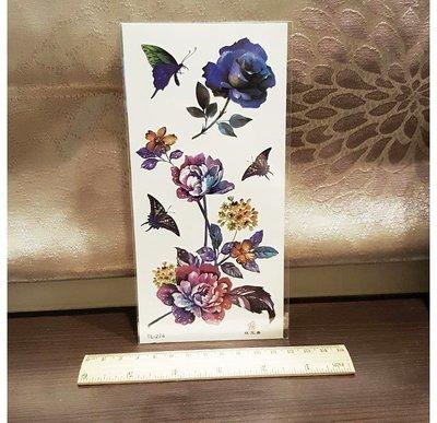 【萌古屋】藍色花朵蝴蝶 - 男女防水紋身貼紙刺青貼紙K19