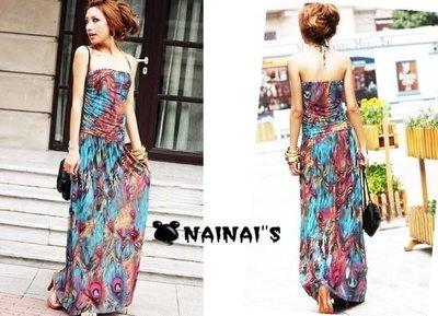 【NAINAIS】Style‧5987 韓版 顯瘦波希米亞綁脖民族風鮮艷撞色海灘裙長版洋裝 現貨