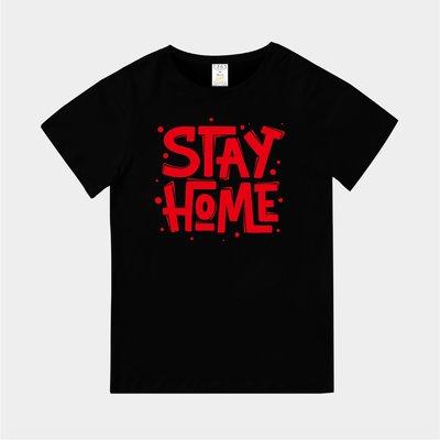 T365 MIT 台灣製造 CORONAVIRUS COVID-19 STAY HOME 紅色 親子裝 童裝 T恤 T