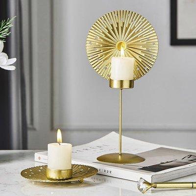 Ryneet北歐創意鐵藝燭臺家用美式西餐桌簡約大蠟燭擺件復古燭光晚餐道具