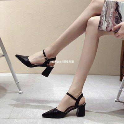 litterluck-韓國專櫃一字扣粗跟涼鞋女中跟2019新款正韓法式少女小清新尖頭高跟鞋后空