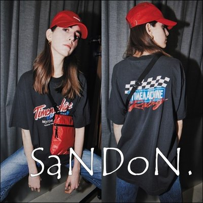 SaNDoN x『moussy』官網SOLE OUT 洗舊字母賽車設計TEE 短袖T-SHIRT sly 180412