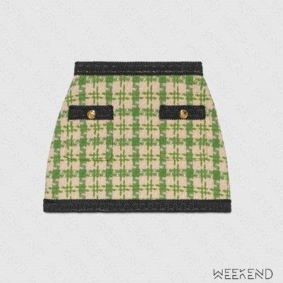 【WEEKEND】 GUCCI Houndstooth Tweed 毛呢 窄裙 短裙 綠色 572341