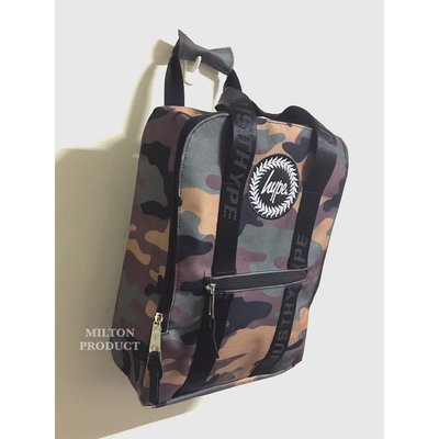 HYPE CAMO BACKPACK BOX 經典方形迷彩織帶後背包 英國品牌 CREST HANDLE