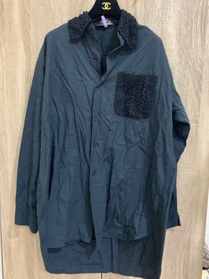 CDG 深藍繡花襯衫 罩衫