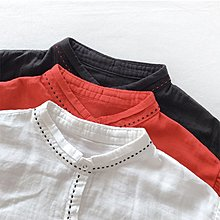 Joyce‧W~*【T212805】☆森林系Zakka☆日系。預購。簡約風親膚雙層棉紗手工感縫線領氣質小立領襯衫。3色
