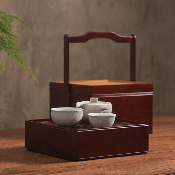 貓先生  便攜旅行 竹食盒  中式茶道 提籃竹籃  茶具收 納禮盒日 式雙層便 攜茶箱