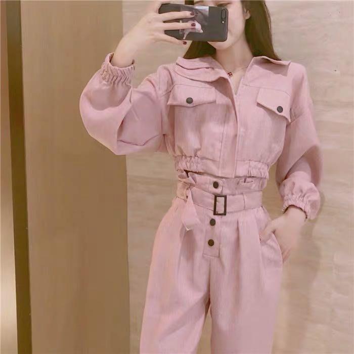 韓版時尚個性兩件式套裝短版上衣闊腿褲