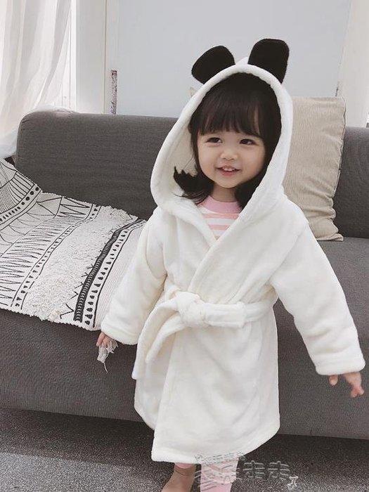 兒童浴袍兒童睡袍加厚女童男童浴袍法蘭絨嬰兒長款可愛卡通帶帽家居服