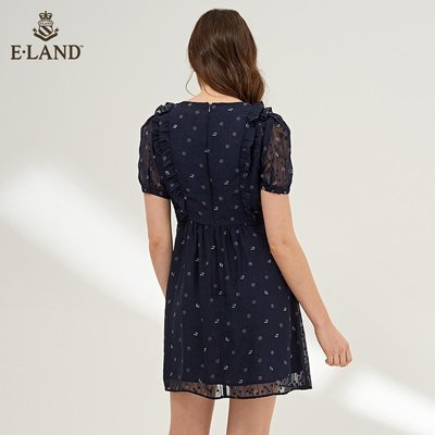 ELAND春夏款韓版休閑時尚荷葉邊雪紡度假洋氣小碎花連衣裙仙女