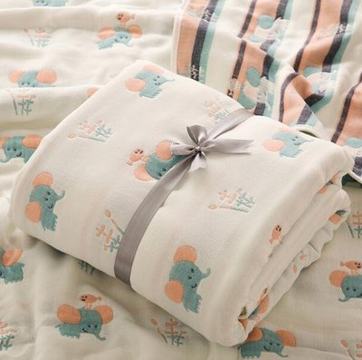 涼被 卡通六層嬰兒浴巾純棉寶寶紗布蓋毯新生兒包被兒童毛巾被—莎芭