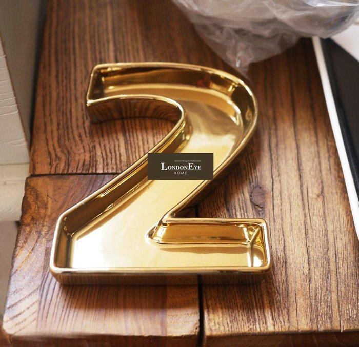 【 LondonEYE 】小法國系列-春日派對X潮流藝術金色數字裝飾盤/時尚立體字 拍攝道具/擺件布置/婚禮RL36