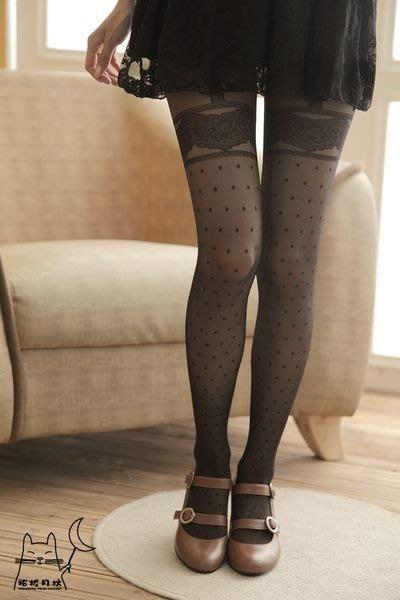 【拓拔月坊】日本品牌 Chaton Moe 點點圖騰蕾絲假吊帶 褲襪 日本製~現貨!