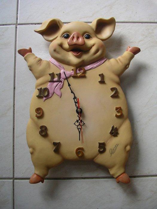 陶板豐收豬 掛鐘 時鐘 藝術鐘