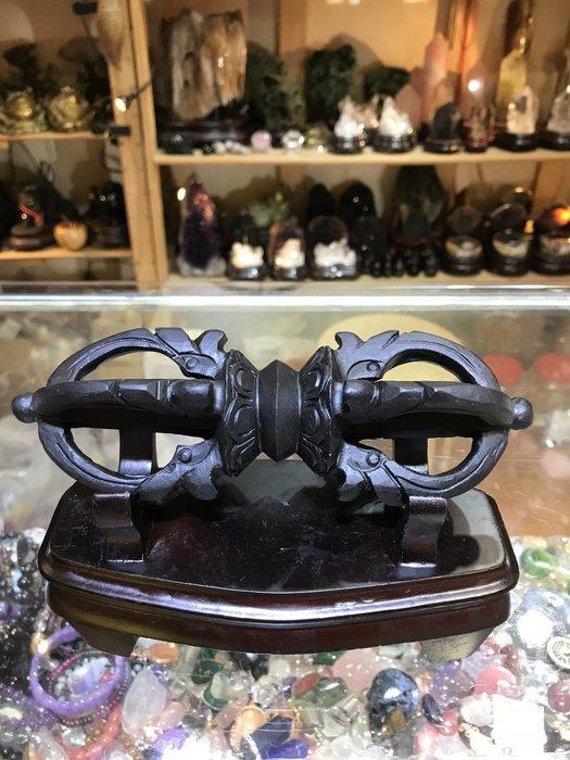 ((上品堂))頂級西藏天鐵法器超大金剛杵長約19公分難得一見的寶物.送底座