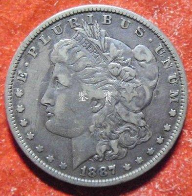 【鑒 寶】(世界各國錢幣)美國1887年 1$元【 摩根】 大銀幣 BTG3037