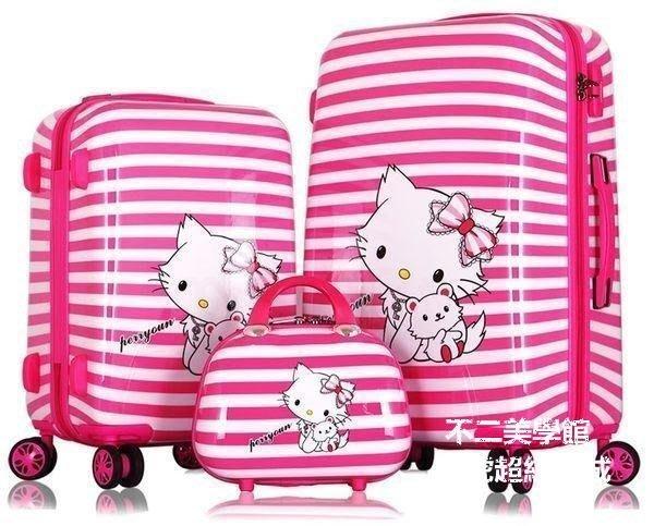 【格倫雅】^hello kitty拉桿箱韓旅行20寸 24寸登機箱女行李箱 凱蒂貓粉色