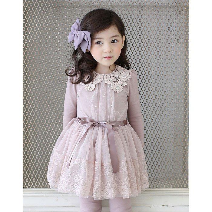 韓國童裝女童加绒長袖連衣裙秋冬韓版公主裙兒童蕾丝蓬蓬裙洋裝甜美--崴崴安兒童館