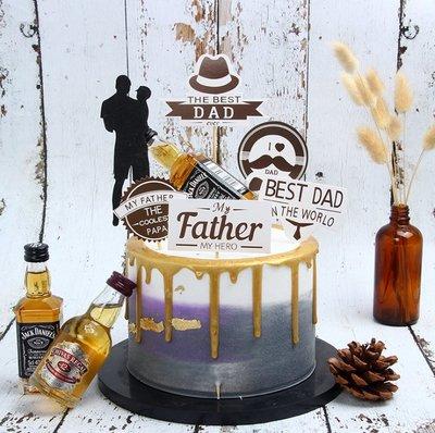 生日蛋糕裝飾父親節快樂插牌 黑色系 爸爸禮節禮帽生日裝飾插件