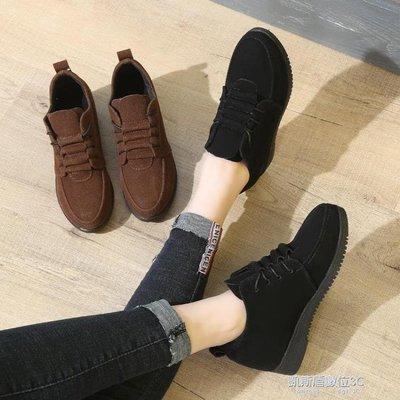 女鞋子新款秋冬韓版百搭單鞋女學生休閒工作中跟內增高小皮鞋