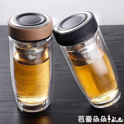 玻璃杯 伊薩卡雙層玻璃杯男士大容量商務過濾帶蓋隔熱泡茶杯透明車載水杯--獨品飾品吧☂