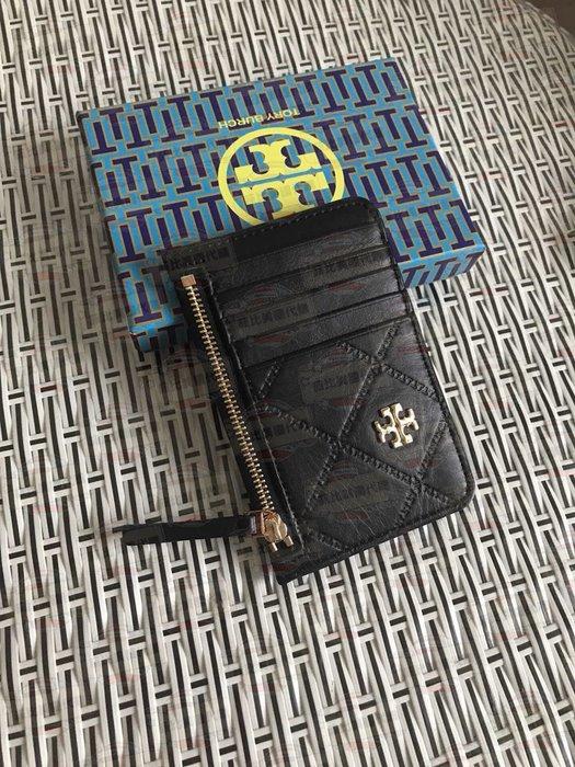 【菲比代購&歐美精品代購專家】Tory burch 托里伯奇 經典LOGO  菱格紋 五卡片夾+拉鍊夾層 卡包 黑色