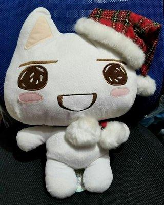 Taito Sony Cat Toro貓 多樂貓 白貓 冬日 紅色格仔帽 毛毛頸巾 XL 大景品公仔 40cm高 全新正版有吊牌