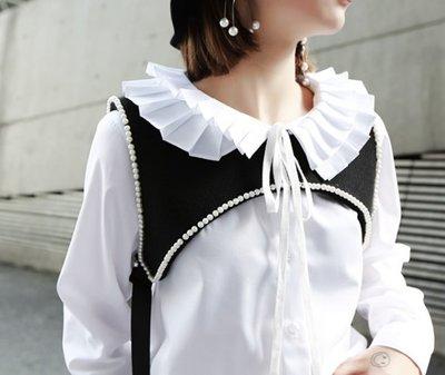 RVP-【歐式復古】立體層次百褶風琴花邊領襯衫-121711