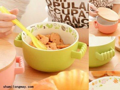 HAPPY+【V5187】2015 zakka创意韩式可爱日式泡面碗 大号陶瓷双耳面碗带盖 無印良品