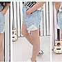 ♥ GK5002 韓版女童裝牛仔蕾絲短褲 (現貨) ...