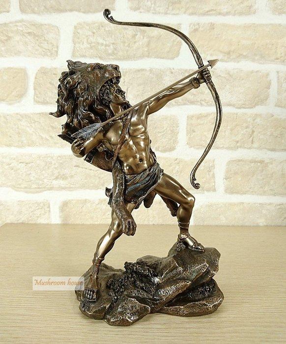 點點蘑菇屋 歐洲精品希臘神話雕像 大力士赫拉克勒斯射箭擺飾 獅子皮 海克力斯 Heracles 藝術雕塑 現貨 免運