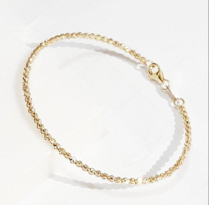 *金色風暴*~ 義大利585K金 ~黃k小月亮珠手環 ~ 造型,14k手鏈,不褪色,送禮,女生最愛