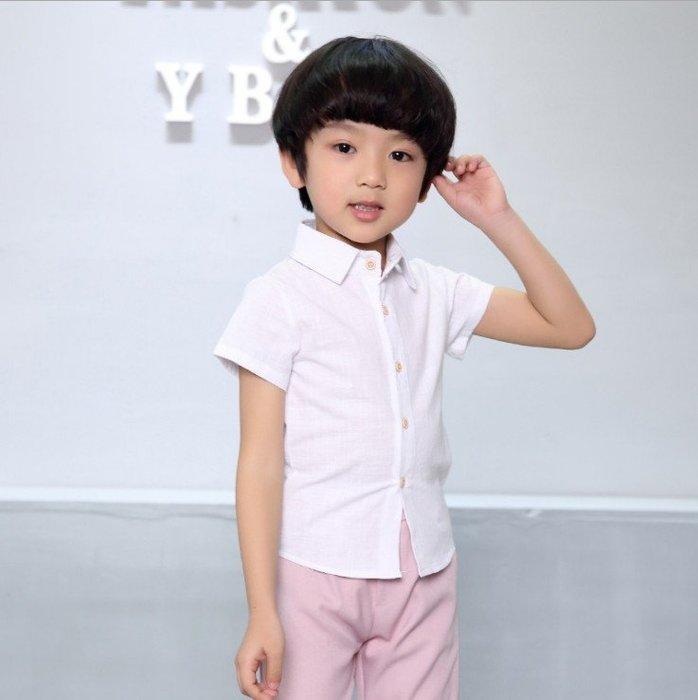 日韓歐美♥韓版中大男童 亞麻白襯衫 夏日短袖襯衫上衣 表演 正式上衣【CF010】