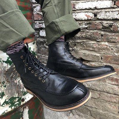 美式復古黑色英倫風真皮工裝機車馬丁短靴百搭高幫男鞋ins韓版潮