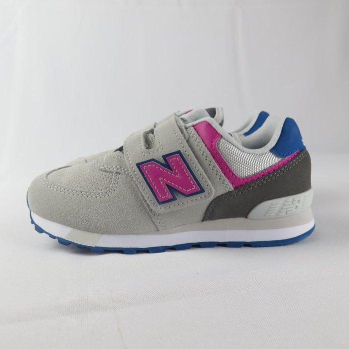 New Balance 魔鬼氈 復古鞋 公司貨 YV574JGO 中童鞋 寬楦 灰X粉X藍【iSport愛運動】