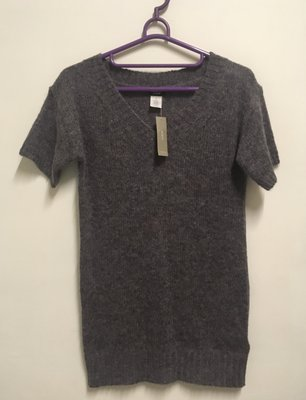 J.CREW 混色 V領 短袖 合身款 中長版 羊毛衣 20%羊毛 XS號 全新 附吊牌
