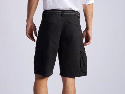 【美國Levis專賣】送鐵環腰帶LEE Dungarees Cargo 重磅 黑色立體口袋短褲29-42腰優惠501