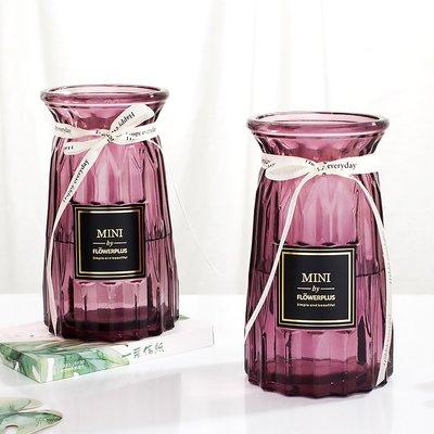 歐式花瓶歐式簡約玻璃花瓶透明水培植物綠蘿工藝花瓶創意插花擺件裝飾客廳