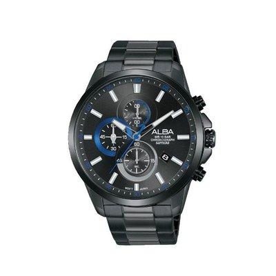 可議價「1958鐘錶城」ALBA雅柏 SPECIAL 男 廣告款三眼計時 石英腕錶(AM3661X1) 44mm