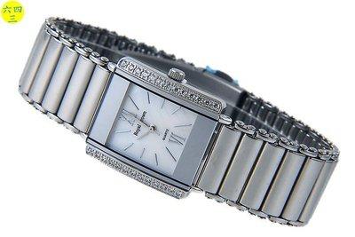 (六四三精品)ROYAL(真品)全不銹鋼長方型鑽錶(長方型)錶殼二旁二排晶鑽.(白貝)(男)!