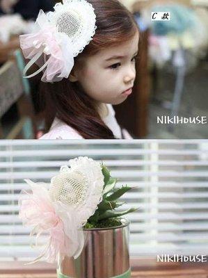 《公主&王子的穿衣鏡》正韓Niki house蕾絲蝴蝶結可愛小帽子髮飾(B款)~全新品出清~一元起標