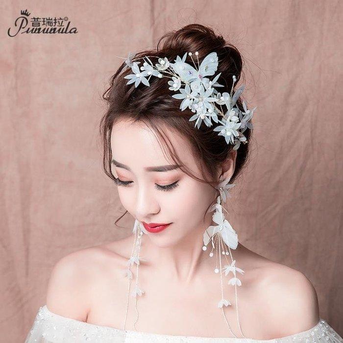 普瑞拉新娘頭飾結婚發箍2018新款白色超仙婚紗敬酒服禮服配飾套裝第