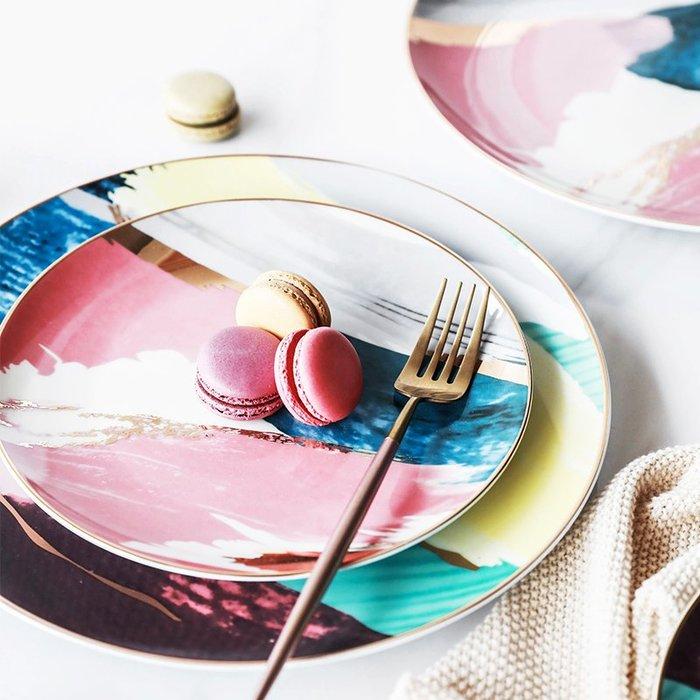 [ Atelier Smile ] 鄉村雜貨 北歐風 深濃 水彩藝術描金邊陶瓷餐盤 甜點盤 # 10吋  (現+預)