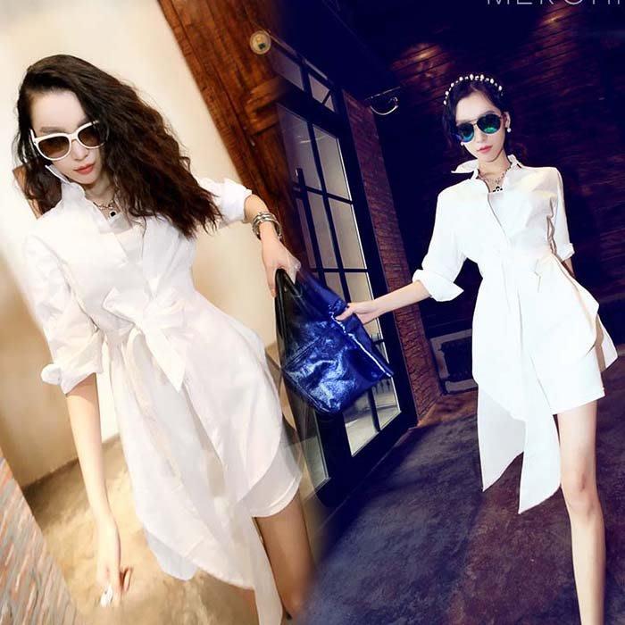 中長款長袖襯衫上衣【Miss U】韓版新款時尚不規則衣擺中長款長袖襯衫上衣YUN2570
