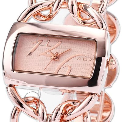 Elegant Lady Rose Golden Rectangle Dial Ribbon Steel Band Bracelet Quartz W 女錶