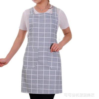純棉布料家用廚房做飯圍裙韓版時尚背心式成人防油工作服